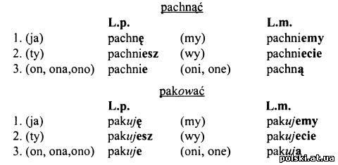 Відмінювання дієслів польської мови в теперішньому часі - 1 група дієвідміна