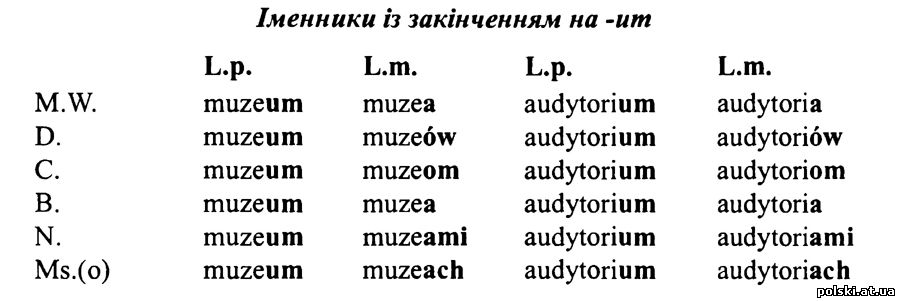 Відмінювання іменників середнього роду з закінченням на -um